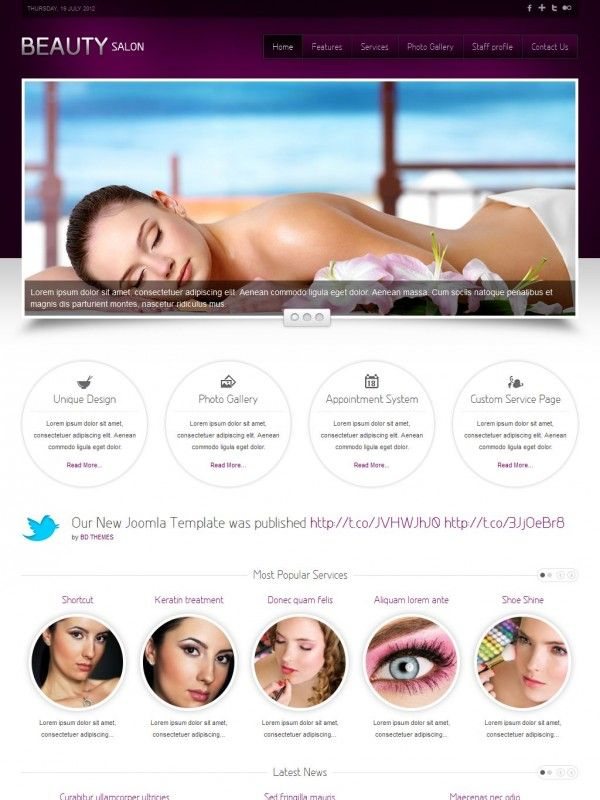 TF Beauty Salon шаблон Joomla скачать